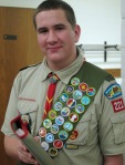 Dewald at his Eagle Scout board of review